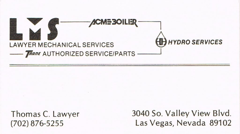 Tom Lawyer's business card features the addition of their water treatment division, Hydro Services