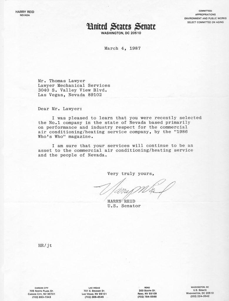 Harry Reid Letter