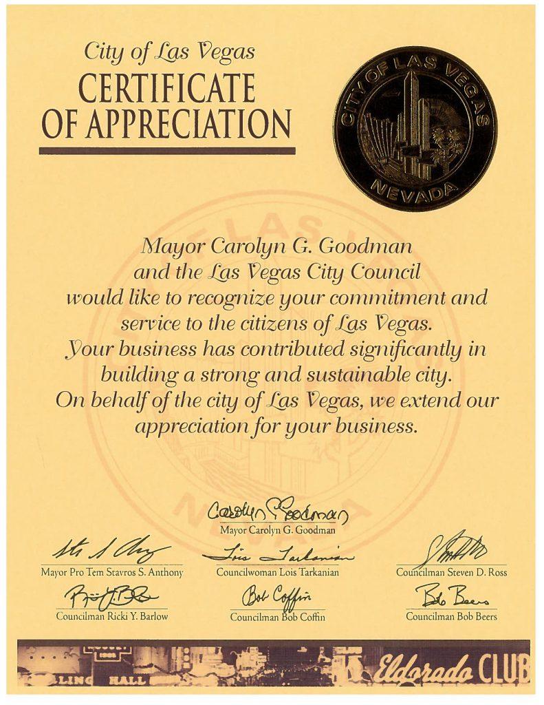 LT Vegas Certificate