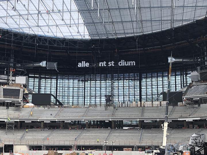 Interior of Allegiant Stadium during construction